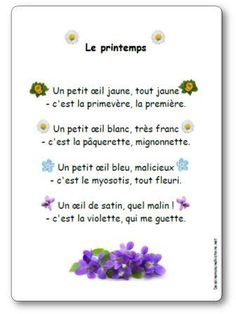 French nursery rhyme for spring