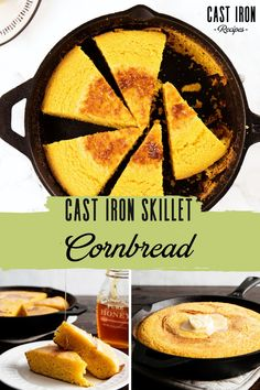 Cast Iron Skillet Cornbread is a great addition to dinnertime. Prepare yourself for sweet, fluffy, golden perfection that will keep your family coming back for more. cast iron recipes, cast iron skillet recipe, cast iron cornbread recipe, cast iron cornbread recipe sweet, cast iron baking, cast iron baking recipes Cast Iron Chicken Recipes, Iron Skillet Recipes, Cast Iron Recipes, Cast Iron Skillet Cornbread, Skillet Bread, Skillet Meals, Dutch Oven Bread, Dutch Oven Recipes, Baking Recipes