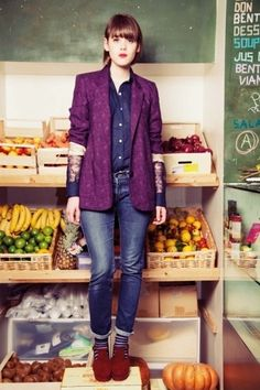 Love the color combo #purple #magenta #navy #blue #fall #fashion #blazer #jeans #socks #stripes #layering #boots #orange #rust #shirt by jeanette
