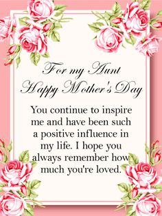 15 best mothers day cards for aunt images on pinterest in 2018 send free you are a positive influence happy mothers day card for aunt to loved ones on birthday greeting cards by davia m4hsunfo