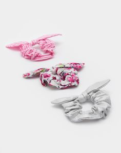 Scrunchie Cream Ditsy Set of Three , Size One Size | Joules UK