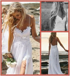 2014 Sexy Beach Wedding Dresses Spaghetti Straps Appliques Low Back Lace Wedding Dress Summer Bohemian Wedding Gowns Front Short Back Long