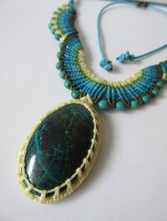 Chrysocolla Macrame necklace handmade with by PapachoCreations