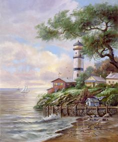 Beacon Light Bay by Carl Valente ~ lighthouse ~ beach ~ sailboat