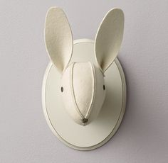 white wool felt bunny head - for the gallery wall