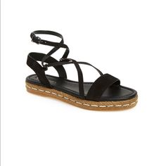 Via Spiga Laney Black Wrap Around Sandals