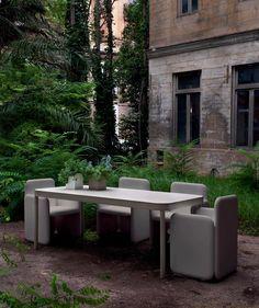 Contemporary metal garden table - TROPEZ by Stefan Diez - GANDIA BLASCO