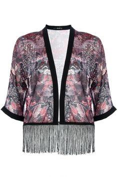 Berry And Black Abstract Print Fringe Kimono