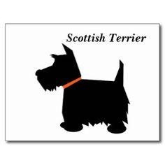 Schottische Terrierhundeschwarz-Silhouettepostkart Postkarte
