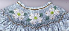 Smocking plate with dogwood flowers and geometric design. 10 rows of smocking on a bishop. Smocking Plates, Smocking Patterns, Dogwood Flowers, Heirloom Sewing, Smock Dress, Diy Clothes, Kids Outfits, Knitting, Cricket