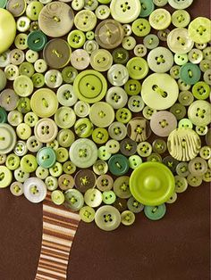 Button Tree Pillow.  Love all the shades of green!