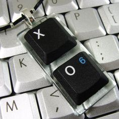 Upcycled computer keyboard necklace.  I love geeky jewelry like this!