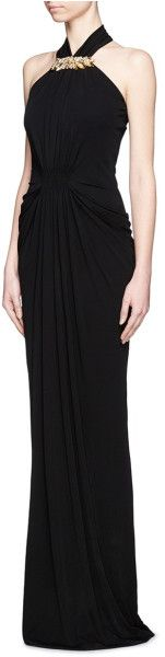 Alexander Mcqueen Embellished Jersey Gown in Black - Lyst