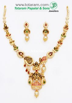 22K Gold 'Peacock' Necklace & Earrings Set With Ruby - GS2536 - Indian Jewelry from Totaram Jewelers