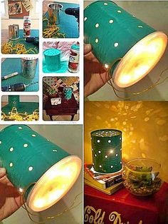DIY Tin Can Lamp diy craft crafts home decor easy crafts diy ideas diy crafts crafty diy decor craft decorations how to home crafts tutorials teen crafts Tin Can Crafts, Easy Diy Crafts, Decor Crafts, Home Crafts, Easy Crafts, Craft Decorations, Decor Diy, Decor Ideas, Cool Diy
