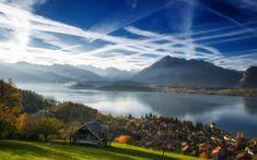 Download wallpapers Lake Thun, Bernese Alps, autumn, mountain landscape, lake, morning, Switzerland, Bernese Oberland