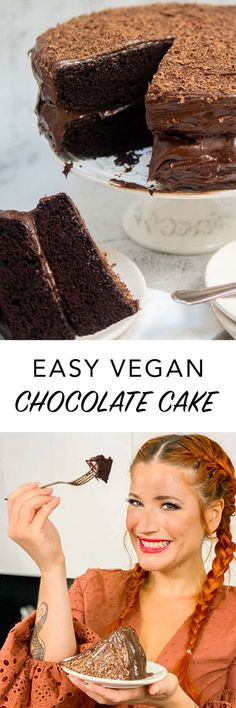 This easy #vegan chocolate cake is made using super simple ingredients that you probably already have in your kitchen!  This simple vegan #chocolatecake is a staple for me when I need to throw something together for a birthday or dessert for a get together. It's so easy. Vegan Baking Recipes, Vegan Dessert Recipes, Delicious Vegan Recipes, Vegan Sweets, Raw Food Recipes, Top Recipes, Veggie Recipes, Healthy Recipes, Chocolate Flavors