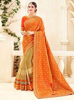 Orange Banarasi Silk Half N Half Saree 120373