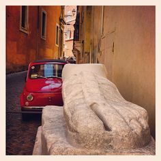 Fiat 500 by the Pie Di Marmo (marble foot), Rome.