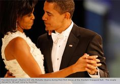 """President Barack Obama and wife Michelle Obama during their first dance at the Western Inaugural ball. The couple danced to """" At last"""" sung by Beyonce"""