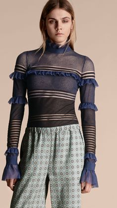 Sheer Striped Sweater with Ruffles Black/navy   Burberry