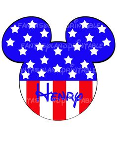 Mickey Mouse Stars and Stripes Fourth of July Stars for DIY Printable Iron Transfer family  Disney trip Applique Vacation Shirt via Etsy