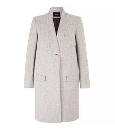 Maje Klinton Straight Fit Wool Coat in Gray