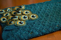 Ravelry: Peacock Pretty Blanket pattern by kraftling. This must be why I've taught myself to crochet. Diy Tricot Crochet, Crochet Home, Crochet Crafts, Crochet Stitches, Crochet Projects, Afghan Patterns, Crochet Blanket Patterns, Knitting Patterns, Crochet Afghans