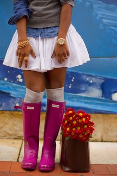 This outfit is beyoooonndddd cute! Deffff my style! wellies outfit, welly, kalosze, kalosze outfit JOIN ME ON FB  https://www.facebook.com/elikshoe