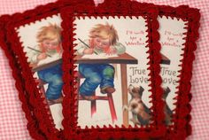 I+love+how+blogger+Thimbleanna+added+a+crochet+border+to+her+vintage+Valentines.