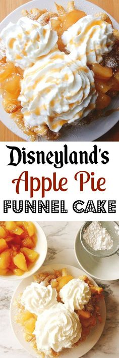 An easy and delicious homemade funnel cake recipe topped with apple pie filling, caramel sauce and whipped cream. Just like the funnel cake from The Hungry Bear Restaurant at Disneyland.