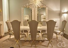 We never grow tired of a dramatic white interior. Consider adding a hint of gold for a glamorous touch. www.christopherguy.com #inspiration #interior #deco #design #christopherguy