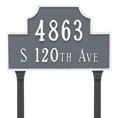 Montague Metal Products Beckford Address Plaque Finish: Sea Blue/Silver