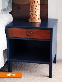 Love how they painted everything but the drawer on these re-painted vintage nightstands. #DIY, refurb