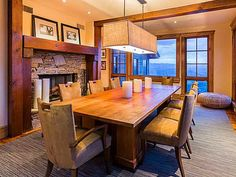 Perfect setting for dining by the fireplace.