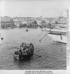 Candia Harbour (Crete) in 1897 (image is in the Public Domain). Crete Chania, Heraklion, Tree Identification, Crete Island, Still Picture, Simple Photo, Old Images, Pilgrimage, Worlds Largest