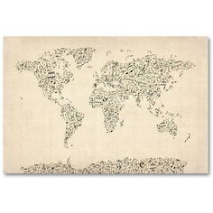 30'' x 47'' ''Music Note World Map'' Canvas Wall Art by Michael... (1,370 CNY) ❤ liked on Polyvore featuring home, home decor, wall art, tan, musical notes wall art, map wall art, sheet music wall art, map canvas wall art and music sheet