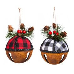 Products The Holiday Aisle Metal Buffalo Plaid Bell Hanging Figurine Ornament Christmas Ornaments To Make, Christmas Mantels, Christmas Bells, Christmas Wreaths, Christmas Decorations, Christmas Ideas, Christmas Christmas, Christmas Decorating Ideas, Primitive Christmas Ornaments
