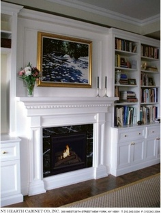 Shana's saved example fireplace molding with bookcases extending beyond depth of fireplace.