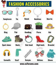 Fashion Accessories: List of Accessories for Men and Women in English - ESL Forums