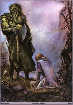 This is probably one of my favorite depictions of the Green Knight and Gawain by Julek Heller. Gawain is clearly defeated (embarrassed and ashamed) whereas the Green Knight stands strong, looking downwards on him but not lifting his axe against him. King Arthur Legend, Legend Of King, Medieval, Illustrations, Illustration Art, Green Knight, Templer, Fantasy Kunst, Green Man