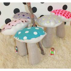 ANNABEL KERN Mini Mushroom Cushion Grey/Lemon --- Cuddly and super cute cotton mini mushroom cushion/toy by Annabel Kern, perfect as a nursery gift. Dimensions: 18 x 13 cm  Material: 100% Cotton cushion with polyester stuffing. Washable