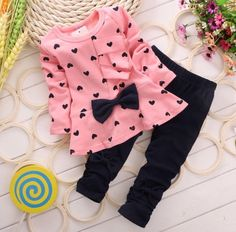 Baby Girl Clothing Set Heart-shaped Print Bow