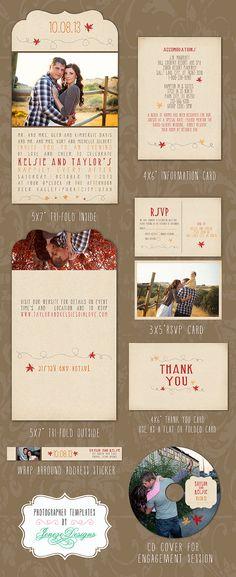 Fall Wedding Invitation Set  Photoshop Templates for by Jeneze, $25.00