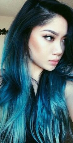 Black to blue hair