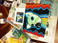 oil pastel pop art dog