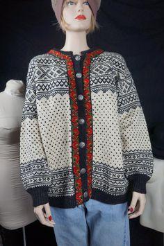 Icelandic Sweater, 50's Norwegian Wool  Ski Apre Sweater, Vintage Scandinavian Cardigan, 60s Boho Button Down Wool Sweater, Nordic Tribal by HippieGypsyBoutique on Etsy