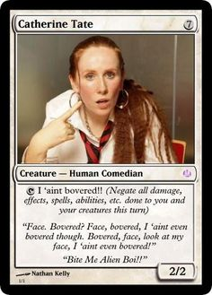 "2, tap: Donna Noble has left the library, Donna Noble has been saved (If you drew a Donna Noble this turn, place a black 7/7 vashta nerada on the field under your control with ""tap: shuffle one Donna Noble on the battlefield into your Library""  This card would be boss"