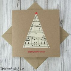 Simple Christmas Cards, Christmas Card Crafts, Homemade Christmas Cards, Christmas Cards To Make, Homemade Cards, Christmas Makes, Holiday Crafts, Sheet Music Crafts, Old Sheet Music