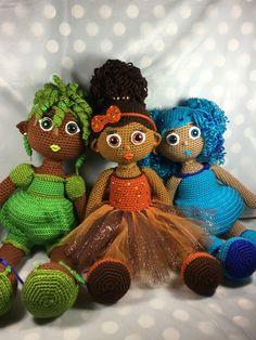 Crochet Doll; African American girls, Kijani (grass/plants/trees) Adobe (earth/soil), and Nilam (rivers/lakes/ocean).